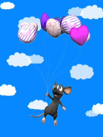 puffy: A cute smiling cartoon mouse flying away while holding a bunch of balloons in his hand. Blue sky with white puffy clouds in the background.