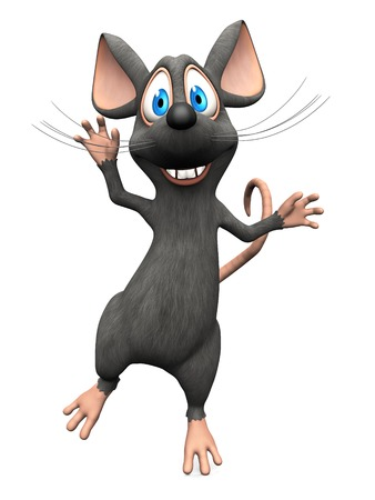 A cute smiling cartoon mouse jumping for joy. White background.
