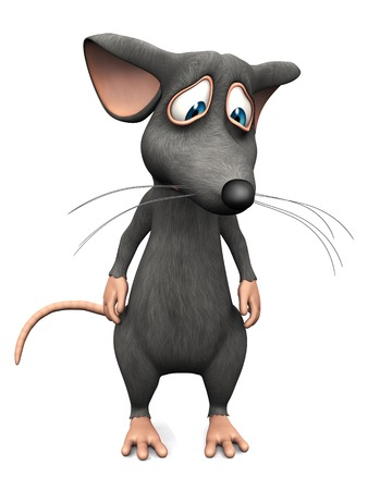 Een leuke verstoorde cartoon muis zoek zeer droevig. Witte achtergrond.