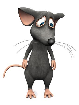 rata: Un ratón de dibujos animados lindo del trastorno que parece muy triste. Fondo blanco. Foto de archivo