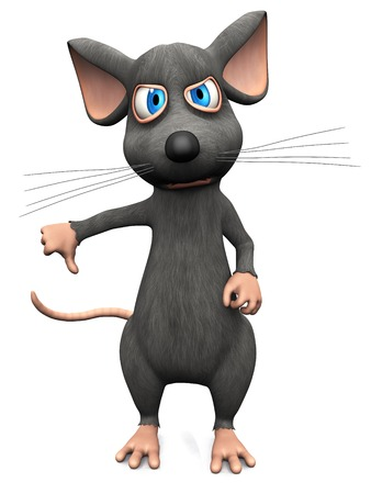 A cute upset cartoon mouse doing a thumbs down with his hand. White background.