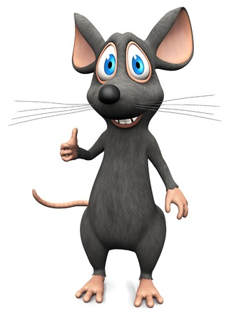 A cute smiling cartoon mouse doing a thumbs up with his hand. White background.
