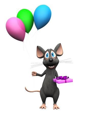 カラフルな 3 つを保持、かわいい笑顔の漫画のマウス片手に風船、誕生日他の提示します。白い背景。 写真素材