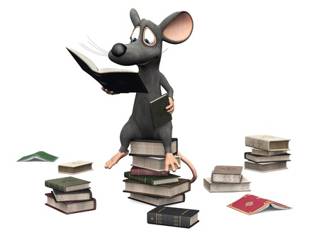 A cute smiling cartoon mouse sitting on a pile of books and reading. Several piles of books are on the floor around him. White background.