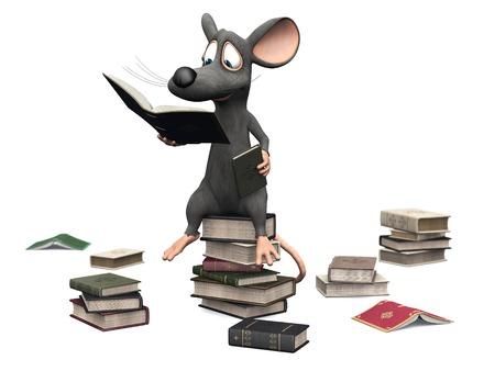 Een leuke het glimlachen cartoon muis zittend op een stapel boeken en lezen. Verschillende stapels boeken zijn op de grond om hem heen. Witte achtergrond.