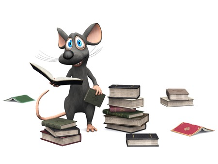 A cute smiling cartoon mouse holding a book in his hand. Several piles of books are on the floor  around him. White background.