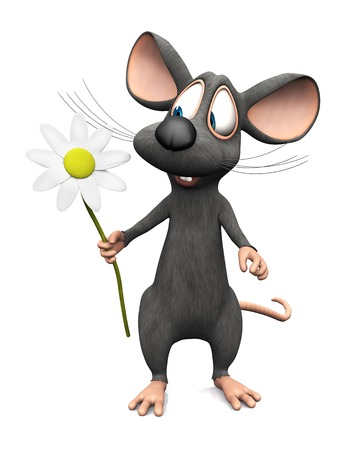 cute mouse: A cute smiling cartoon mouse holding a big white flower in his hand. White background. Stock Photo