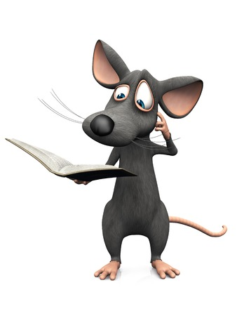 A cute cartoon mouse reading a book and looking very confused. White background. Stok Fotoğraf