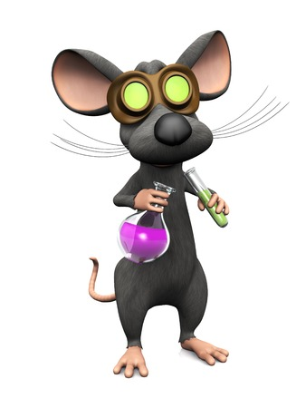 chemical reactions: A cute mad cartoon mouse wearing glasses and doing a science experiment.  Stock Photo