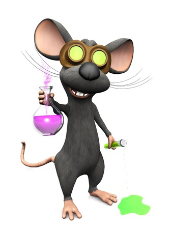 A cute mad laughing cartoon mouse wearing glasses and doing a science experiment. Stock Photo