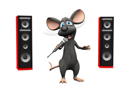 pop idol: A cute smiling cartoon mouse holding a microphone in his hand and singing.  Stock Photo