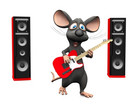 stardom: A cute smiling cartoon mouse singing and playing on an electric guitar and two big red speakers in the back on White background.