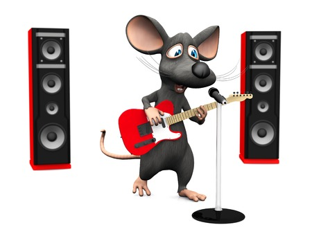 stardom: A cute smiling cartoon mouse singing in microphone and playing on an electric guitar with two big red speakers in the back on White background.