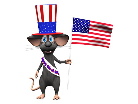 sash: A cute smiling cartoon mouse wearing a flag decorated hat and a sash with the text Happy 4th of July and holding an American flag Stock Photo