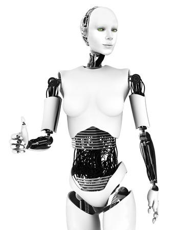 Mujer Robot haciendo un pulgar hacia arriba. Un robot femenino sonríe haciendo un pulgar hacia arriba con la mano. Fondo blanco.