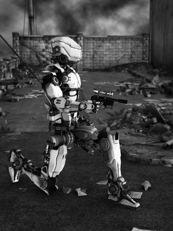 robot war: Black and white image of a futuristic robot holding gun, fighting a war in a ruined city.