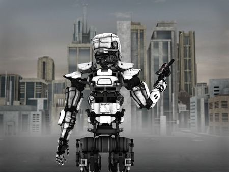 dystopia: Image of a futuristic robot soldier holding gun, standing in front of a science fiction inspired city.