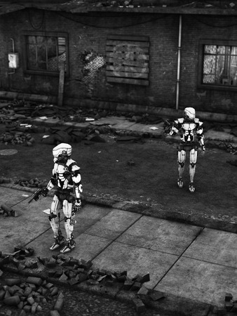 Black and white image of two futuristic robots holding guns, fighting a war in a ruined city.