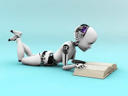story: Robot child lying on the floor and reading a book. Bluish background.