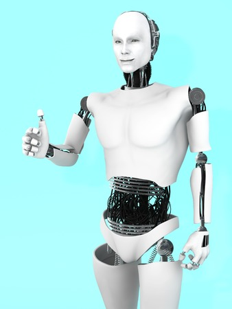 bluish: A smiling male robot doing a thumbs up with his hand. Bluish background.