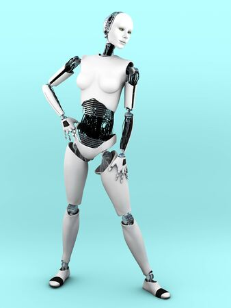 A full body image of a robot woman in a standing pose. Bluish background.