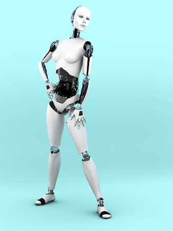 body image: A full body image of a robot woman in a standing pose. Bluish background.
