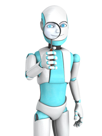 investigate: A cartoon robot boy smiling and looking through a magnifying glass he is holding. White background. Stock Photo
