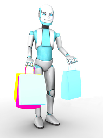 boy smiling: A smiling cartoon robot boy holding shopping bags in his hands. White background. Stock Photo
