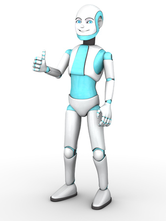 boy smiling: A smiling cartoon robot boy doing a thumbs up with his hand. White background.