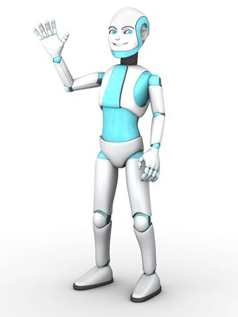 boy smiling: A cartoon robot boy smiling and waving his hand. White background.