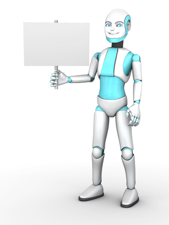 boy smiling: A cartoon robot boy smiling and holding a blank sign. White background.
