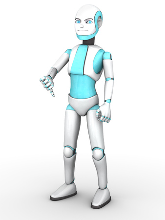 scowl: A frowning cartoon robot boy doing a thumbs down with his hand. White background.