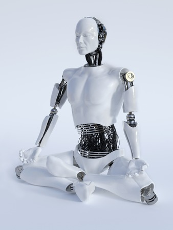 eyes closed: A male robot sitting on the floor and meditating, eyes closed, image 2. White background.