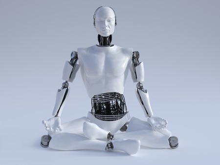 robot: A male robot sitting on the floor and meditating, eyes closed, image 1. Grey background.