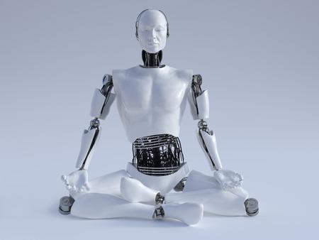 robot: Samiec robota siedzi na podłodze i medytacji, oczy zamknięte, obraz 1. Szare tło.