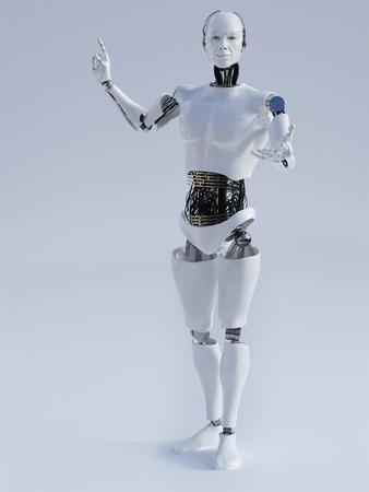 robot: Mężczyzna robot robi prezentację obrazu 1. Szare tło.