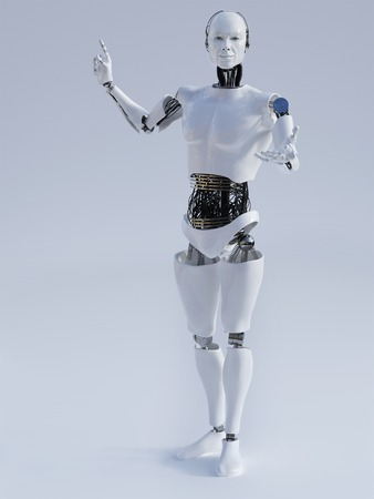 android robot: Male robot doing a presentation, image 1. Grey background.