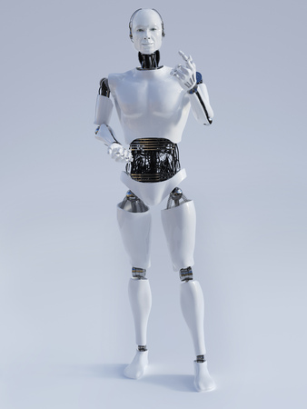 male face: Male robot doing a presentation, image 2. Grey background.