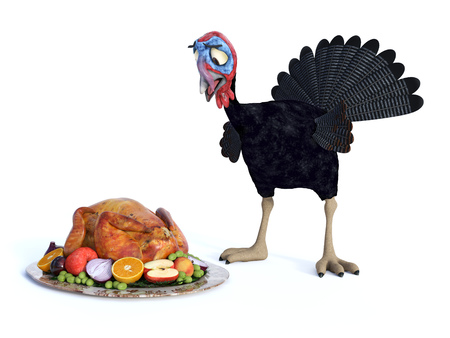 A silly cartoon turkey looking chocked when he sees a roasted turkey on a thanksgiving platter. White background.