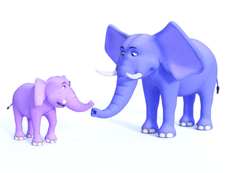 A grown up blue cartoon elephant and a cute pink baby elephant looking happy together. White background.