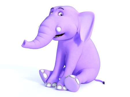giggle: A cute pink cartoon baby elephant sitting down and smiling and looking very happy. White background.