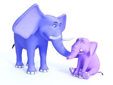 grown up: A grown up blue cartoon elephant and a cute pink baby elephant looking happy together. White background.