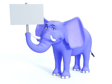 holding sign: A cute blue cartoon elephant holding a blank sign in its trunk. White background.