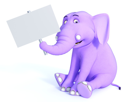 advertising signs: A cute pink cartoon baby elephant sitting down and holding a blank sign in its trunk. White background.