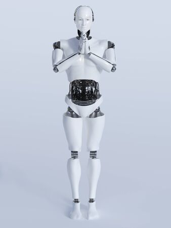 namaste: A male robot standing on the floor and doing a namaste greeting, image 1. Light grey background.