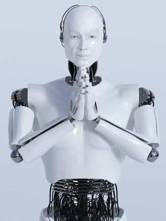 A closeup of a male robot doing a namaste greeting, image 2. Light grey background. Stock Photo