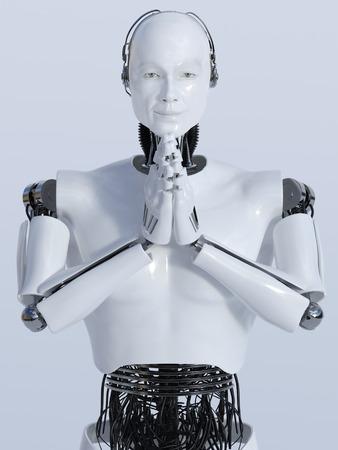 A closeup of a male robot doing a namaste greeting, image 2. Light grey background. Standard-Bild