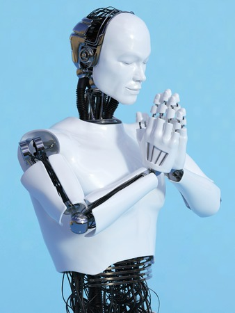 namaste: A closeup of a male robot doing a namaste greeting, image 4. Blue background. Stock Photo