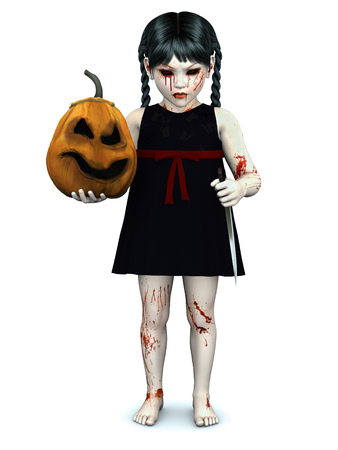 child girl: An evil gothic looking, blood covered small girl holding a pumpkin in one hand and a knife in the other. White background.