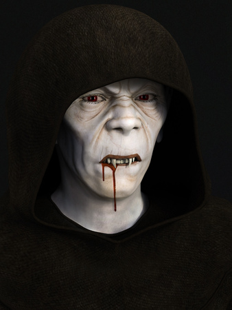 3d vampire: An evil looking monk with vampire fangs. Blood is dripping from his mouth. Dark background.